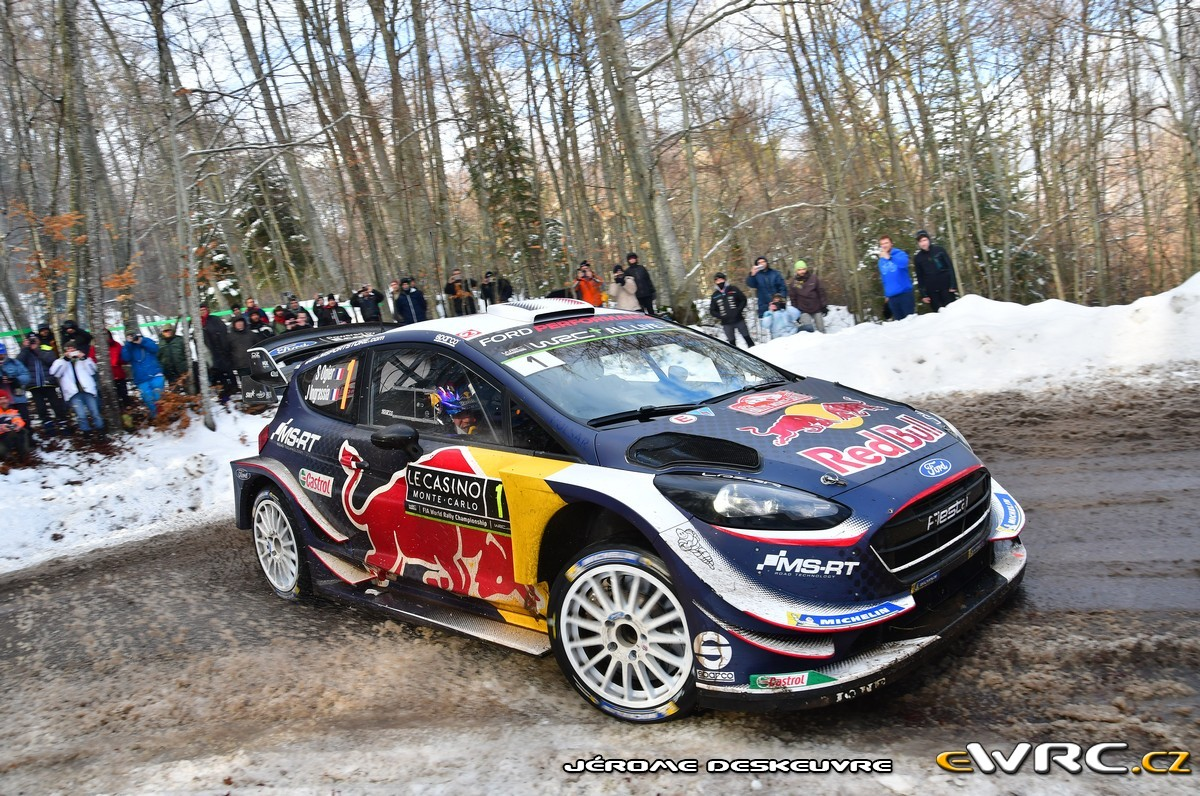 s bastien ogier julien ingrassia ford fiesta wrc rallye automobile de monte carlo 2018. Black Bedroom Furniture Sets. Home Design Ideas